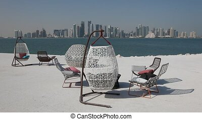 Doha Skyline, Qatar - Cafe with a view of Doha Skyline,...