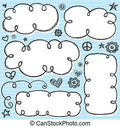 Cloud Frames Swirly Sketchy Vector - Hand-Drawn Sketchy...