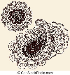 Henna Doodle Flower and Pailsey Set - Hand-Drawn Henna...
