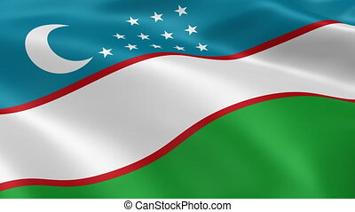 Uzbek flag in the wind. Part of a series.