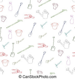 garden equipment seamless pattern
