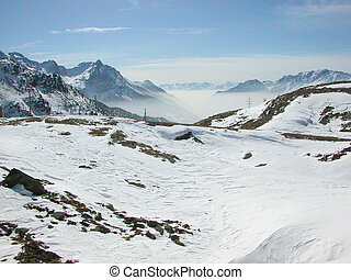 Bernina, Switzerland - Piz Bernina range of mountains in...