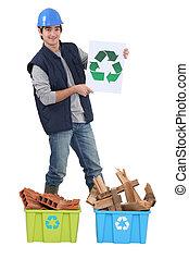 joven, albañil, tenencia, reciclaje, logotipo