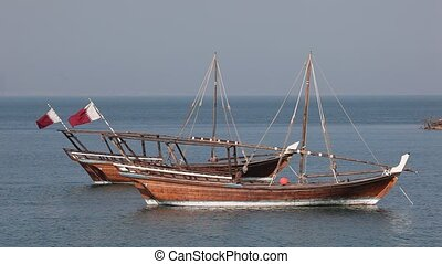 Traditional Arabic dhow boats in Doha, Qatar