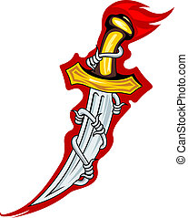Medieval dagger with barbed wire for tattoo or mascot design
