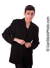 young man, isolated on white background, studio shot