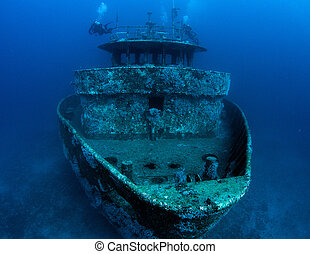 Ship sunk as an artificial reef, picture taken in south east...