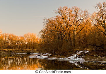 Minnesota River Winter Sunset in Savage Minnesota