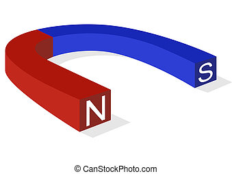 Magnet - The magnet is painted in blue and red to indicate...