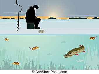 Winter fishing on the lake - The sun on the horizon of the...