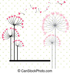 Abstract love flower on polka dot background - Abstract love...