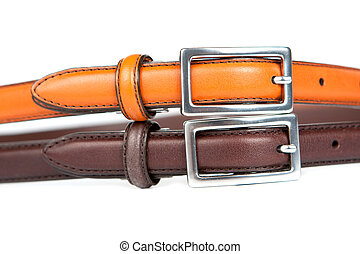 Leather Belts And Buckles - Two brown and tan leather belts,...