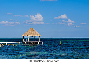 Palapa Hut and Dock on the Ocean