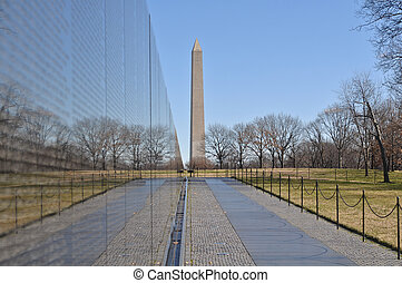 Vietnam War Memorial with Washington Monument in Background