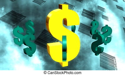 Dollar Signs and Bar Codes Abstract Looping Animated...