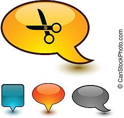 scissors speech comic icons.