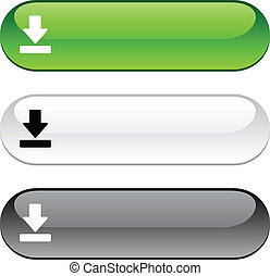 Download button - Download glossy buttons Three color...