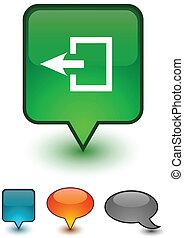 Exit speech comic icons.