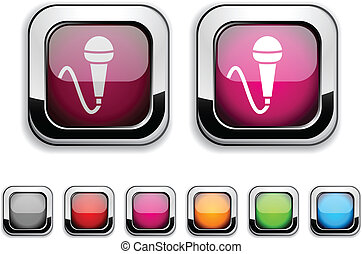 Mic button. - Mic realistic icons. Empty buttons included.