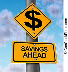 Savings Ahead yellow road sign on a highway metal pole...