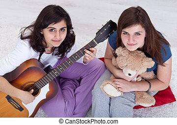 Young teenager girls relaxing