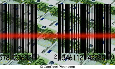 Bar codes and Euros - Bar codes being scanned and 100 Euro...