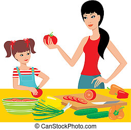 Mum learns the daughter to prepare - Vector illustration