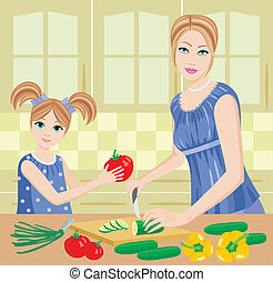 Daughter helps mum to prepare. - Vector illustration, color...
