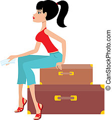 Woman sits on a suitcase and holds