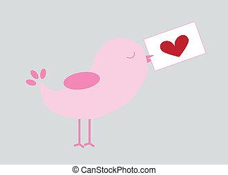 Love Bird - Love bird holding valentine letter