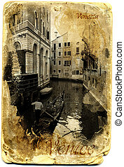 Card postal Gondolier in a canal, Venice