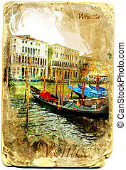 Card postal Gondolas in Grand Canal, Venice