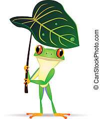 Frog cartoon - Frog holding a leaf