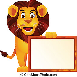 Lion and blank sign - Vector illustration of lion and blank...