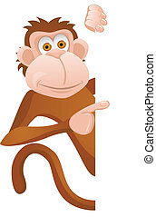 Funny monkey with blank sign