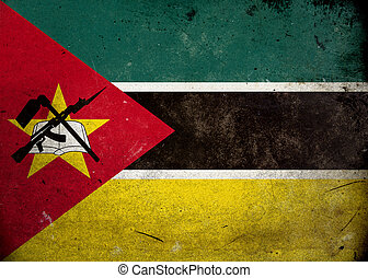 Grunge Flag the Mozambique - Flag on old and vintage grunge...