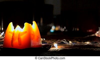 large flickering candle 30 seconds - A large glowing...