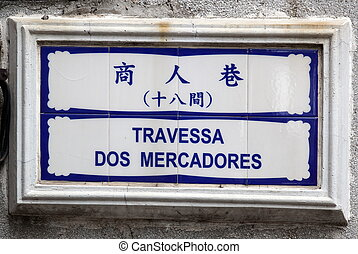Hand painted tiles of street sign.