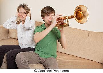 chata, trompete, jogador