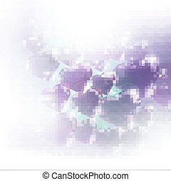 Valentines day card with purple shiny hearts, eps10 vector...