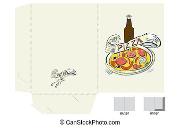 Template for folder with pizza