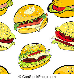 Seamless background with cartoon style hamburgers