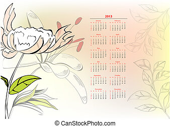 Template for calendar 2013 with flowers