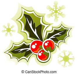 holly berry - Stylized Holly Berry isolated on a white...