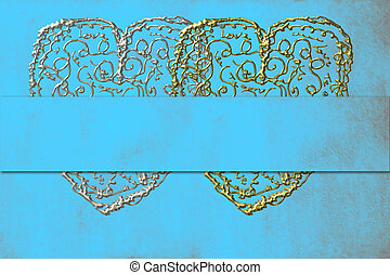 Two Hearts card turquoise background - two hearts card in...