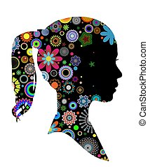 Pattern girl profile - Illustrated side view of a girls head...