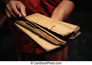 Prayer Book  - Prayer book of papyrus in the hands of monk