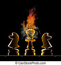 Political crisis - Chessmen king and two horses King burns...