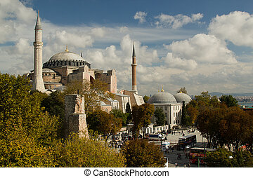 Hagia Sofia in Istanbul -  view from top, with trees and clouds