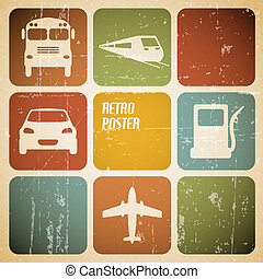 Vector vintage transport traffic poster with place for your...